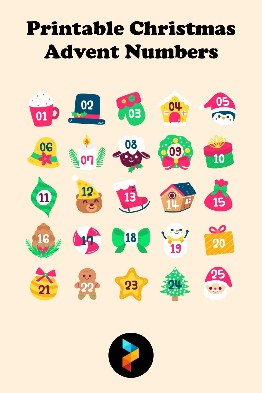 Printable Christmas Advent Numbers