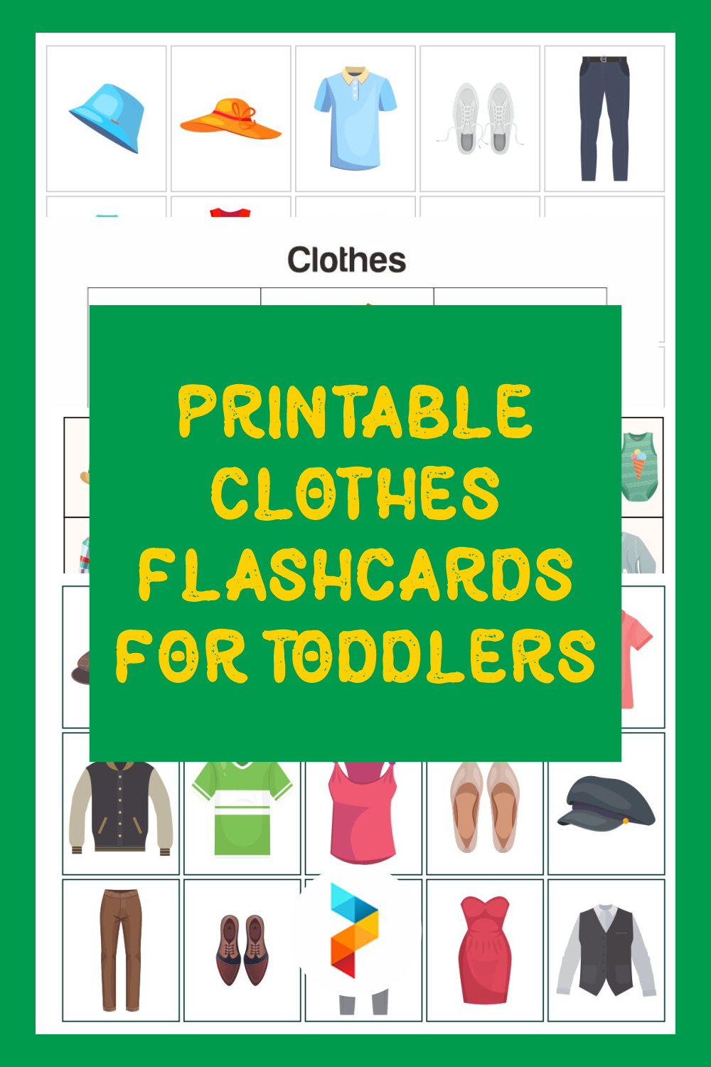 Printable Clothes Flashcards For Toddlers