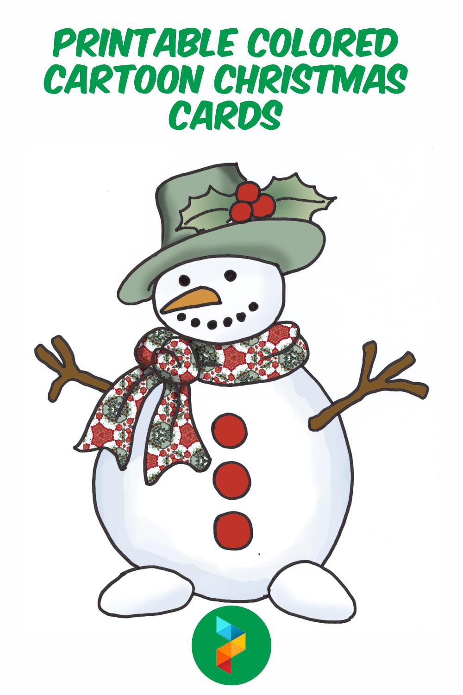 Printable Colored Cartoon Christmas Cards
