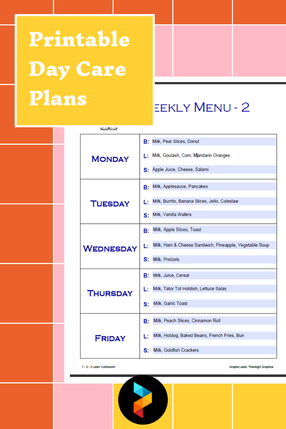 Printable Day Care Plans