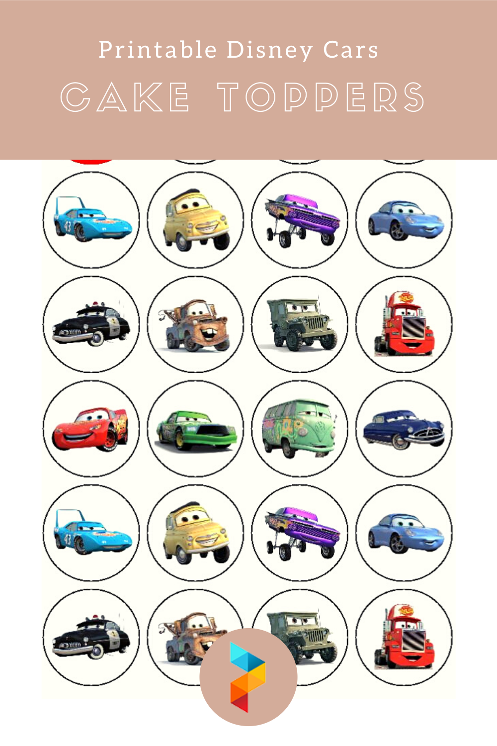 Printable Disney Cars Cake Toppers