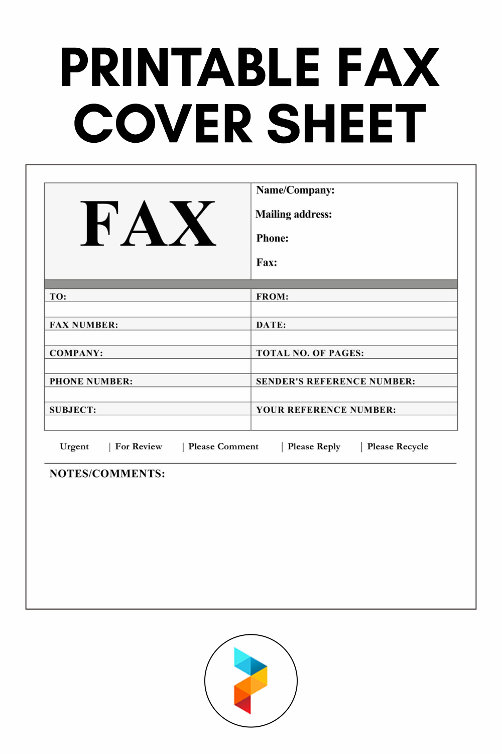21 Best Printable Fax Cover Sheet - printablee.com With Regard To Fax Cover Sheet Template Word 2010