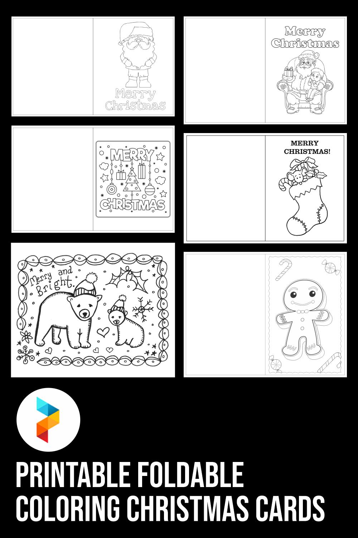 Printable Foldable Coloring Christmas Cards