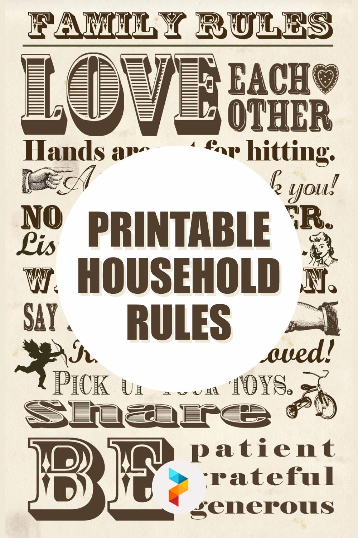Printable Household Rules