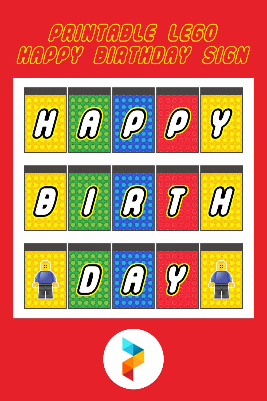 Printable LEGO Happy Birthday Sign