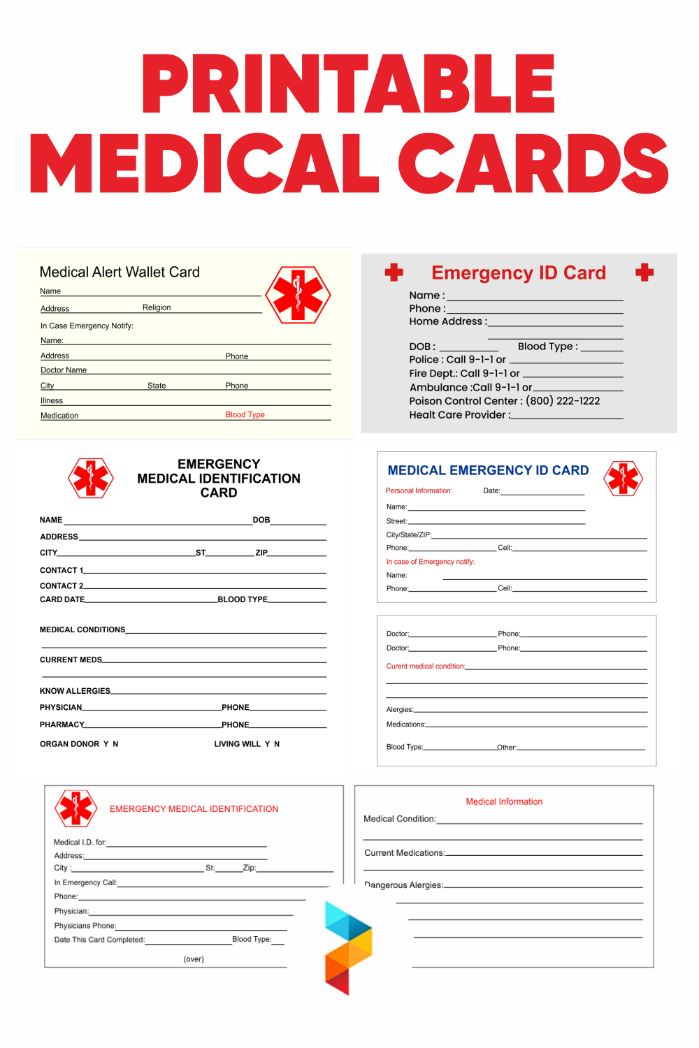 Printable Medical Cards