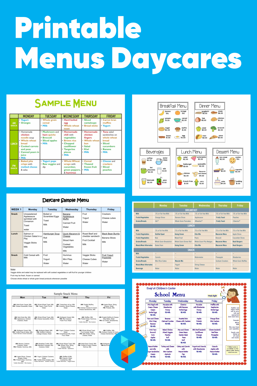 Printable Menus Daycares