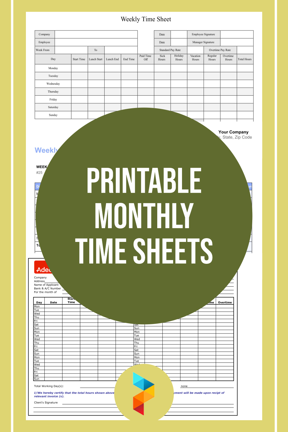 Printable Monthly Time Sheets