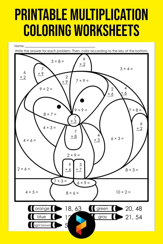 Printable Multiplication Coloring Worksheets