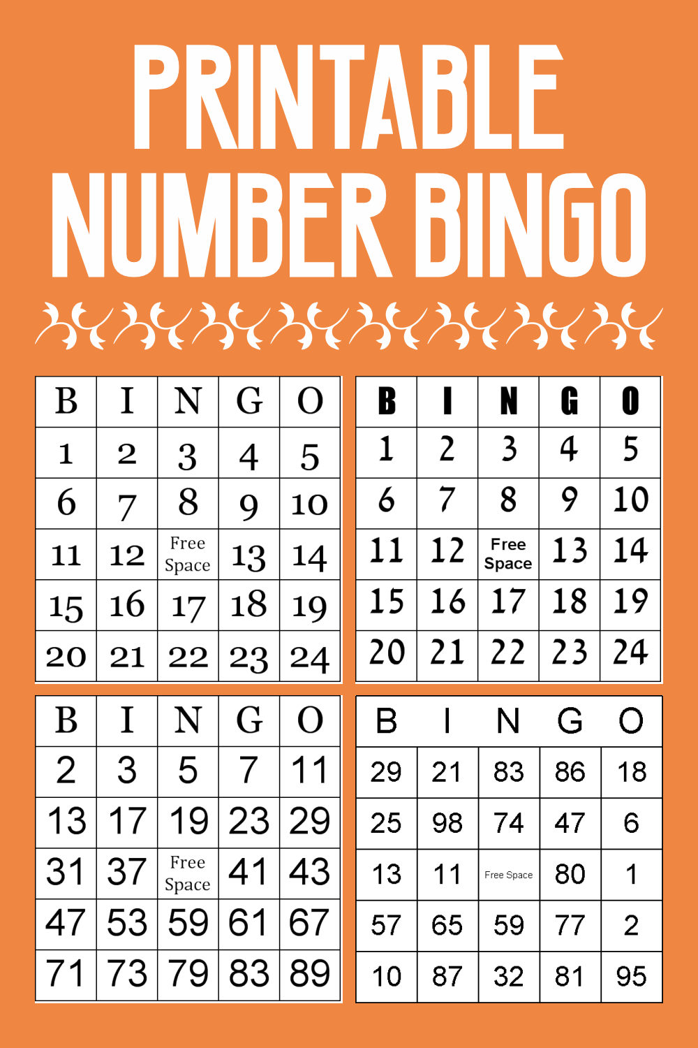 Printable Number Bingo