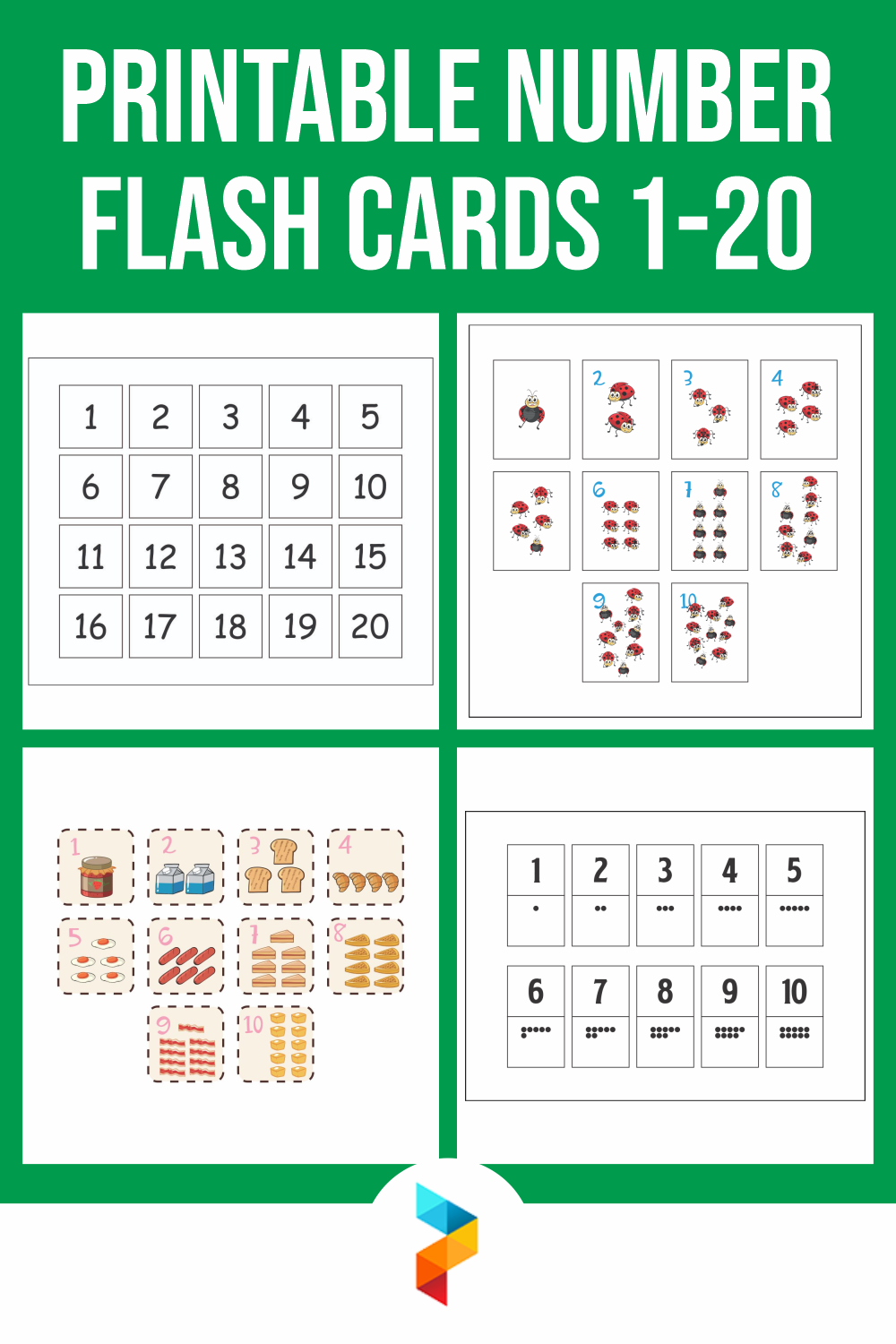 Printable Number Flash Cards 1-20