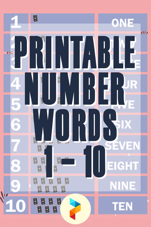 Printable Number Words 1 10