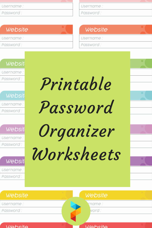 Printable Password Organizer Worksheets