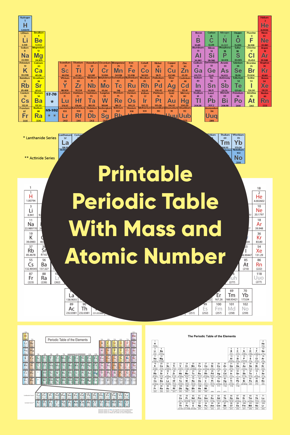Printable Periodic Table With Mass And Atomic Number