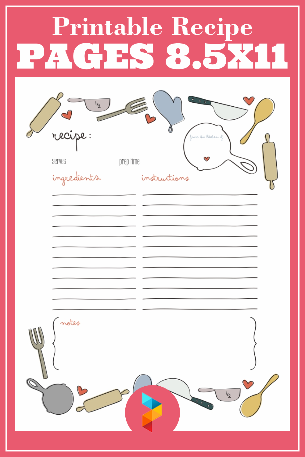 Printable Recipe Pages 8.5X11