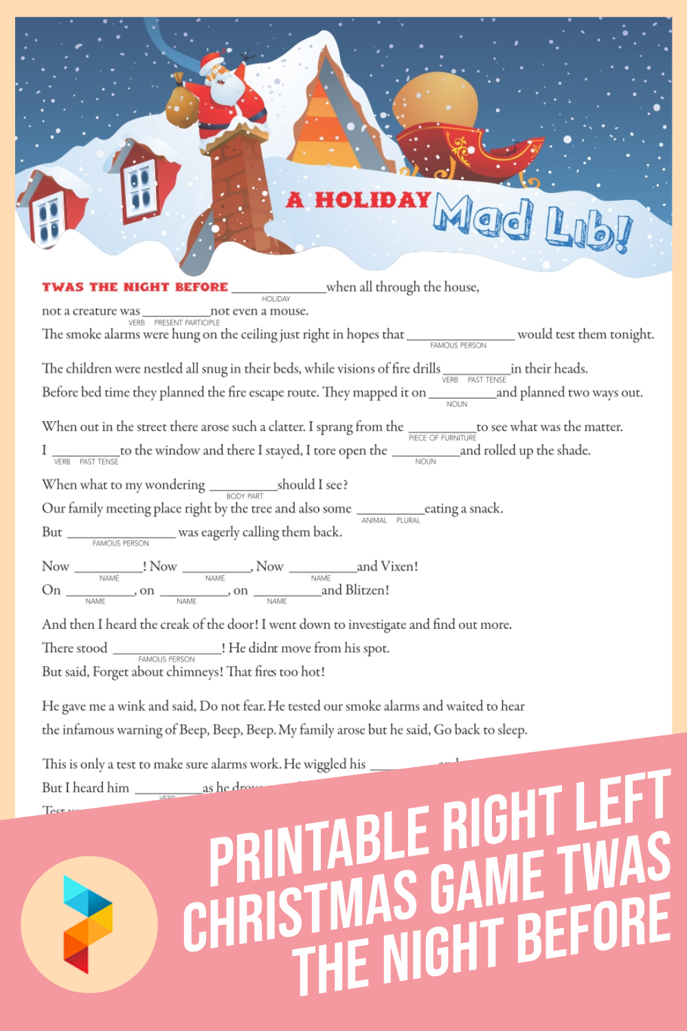 Printable Right Left Christmas Game Twas The Night Before