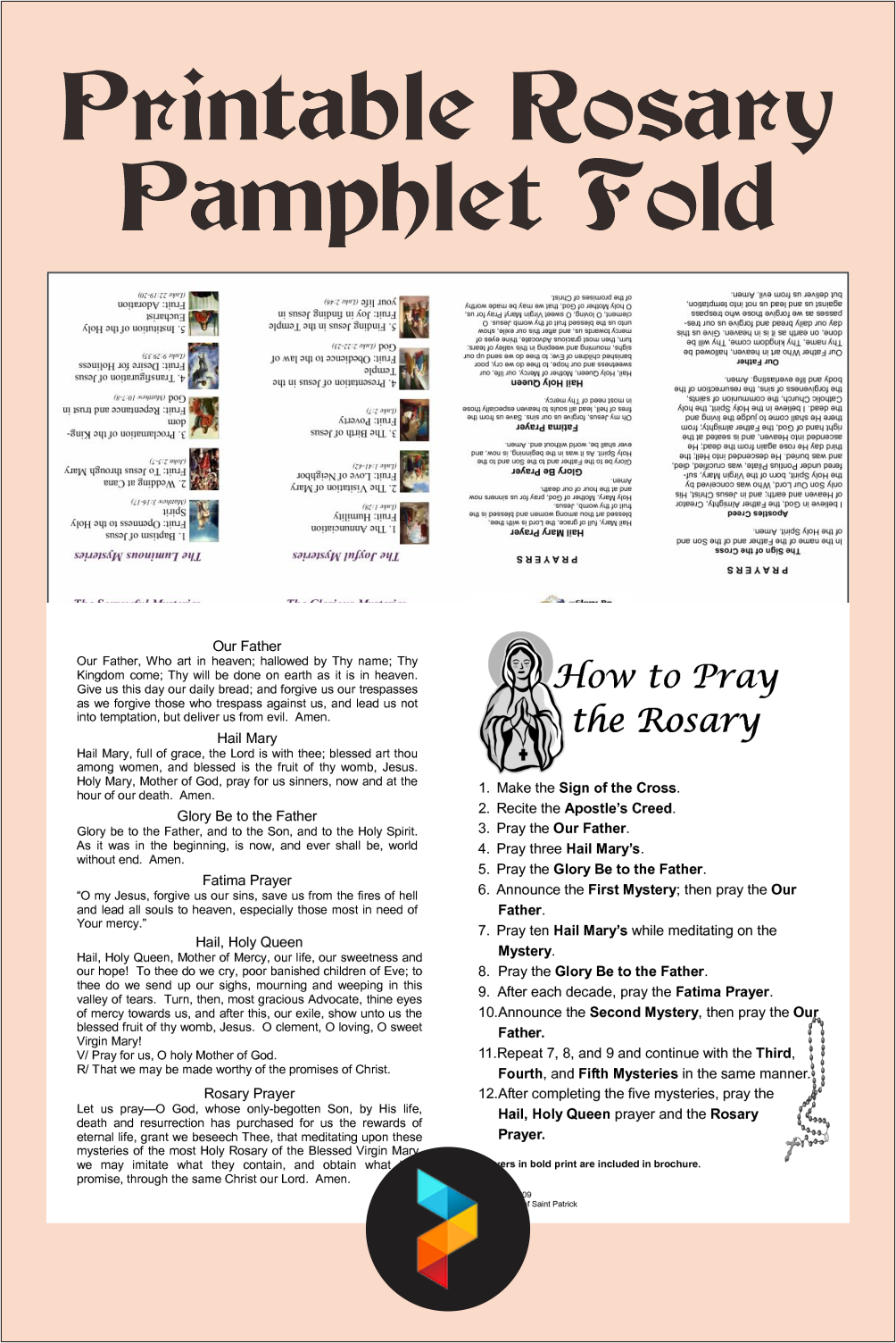 Printable Rosary Pamphlet Fold