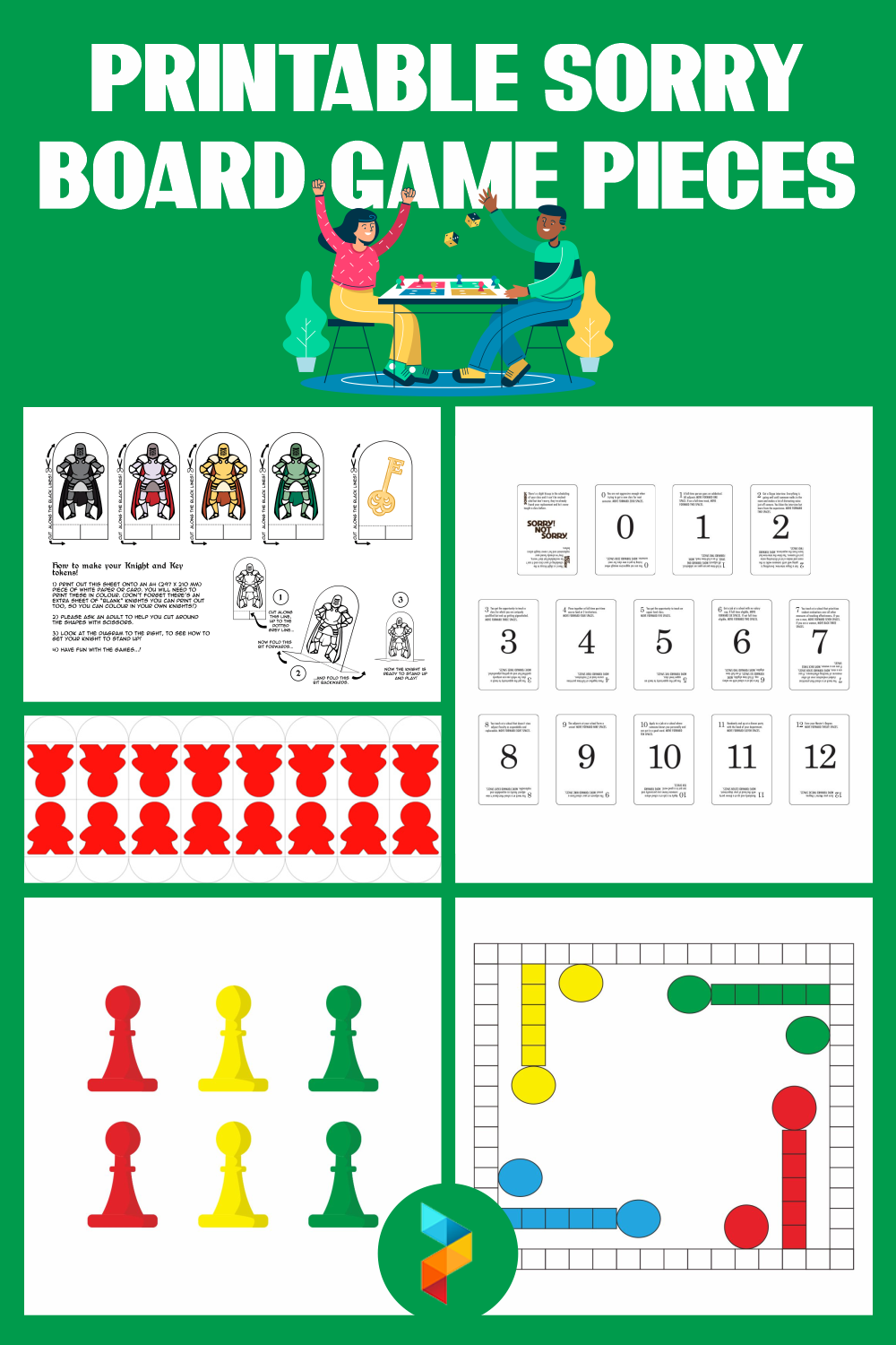 Printable Sorry Board Game Pieces