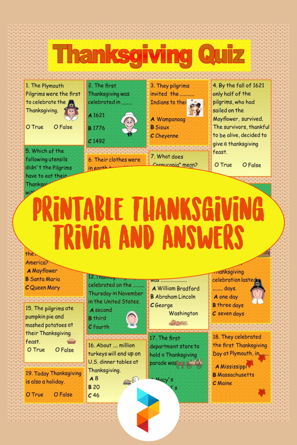 Printable Thanksgiving Trivia And Answers
