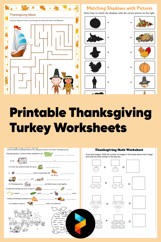 Printable Thanksgiving Turkey Worksheets