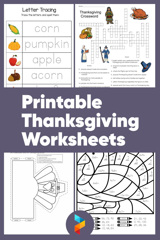 Printable Thanksgiving Worksheets