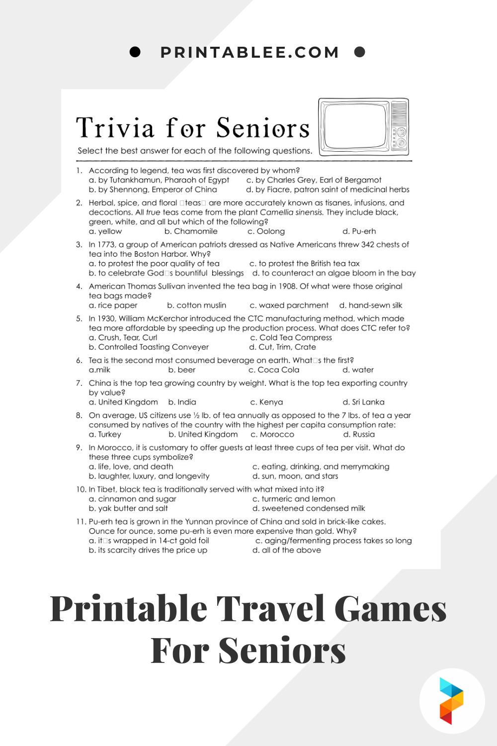 Printable Travel Games For Seniors