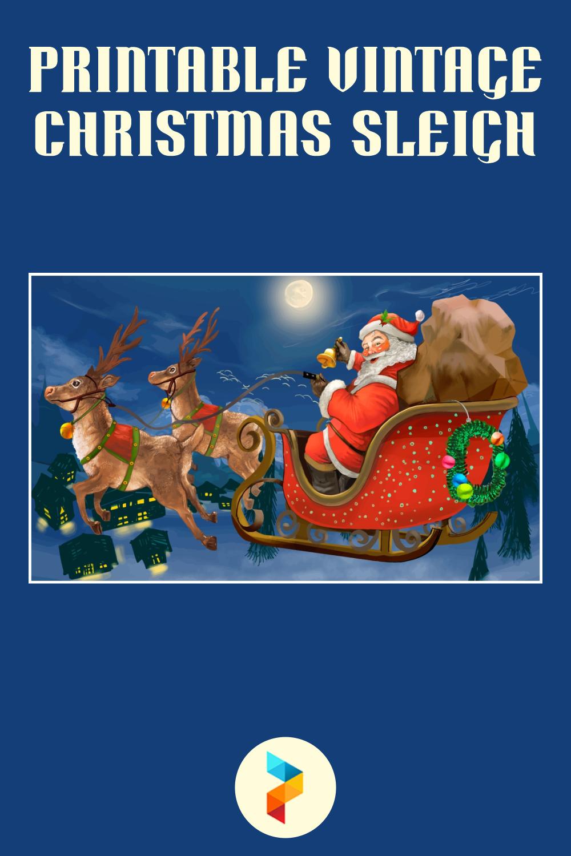 Printable Vintage Christmas Sleigh
