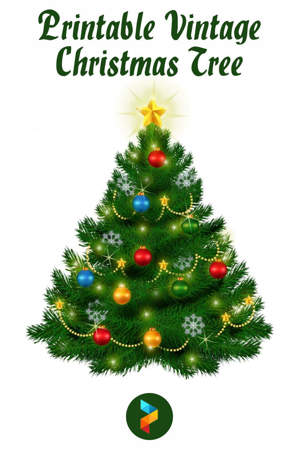 Printable Vintage Christmas Tree