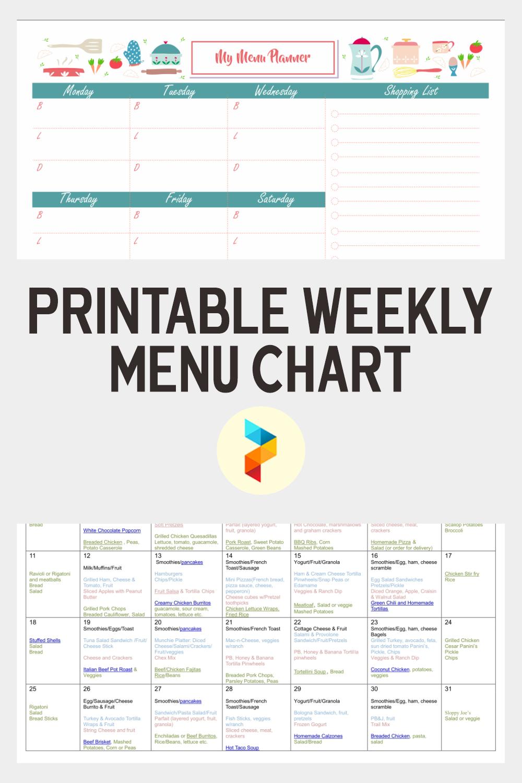 Printable Weekly Menu Chart