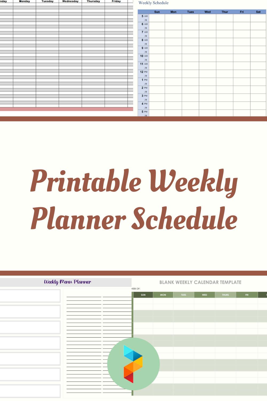 Printable Weekly Planner Schedule