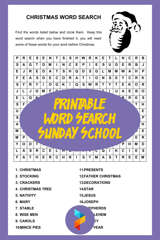 Printable Word Search Sunday School