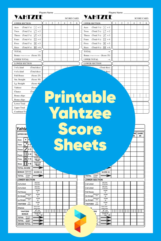 Printable Yahtzee Score Sheets
