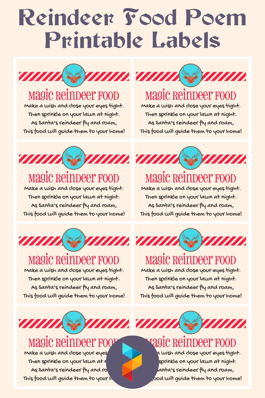 Reindeer Food Poem Printable Labels