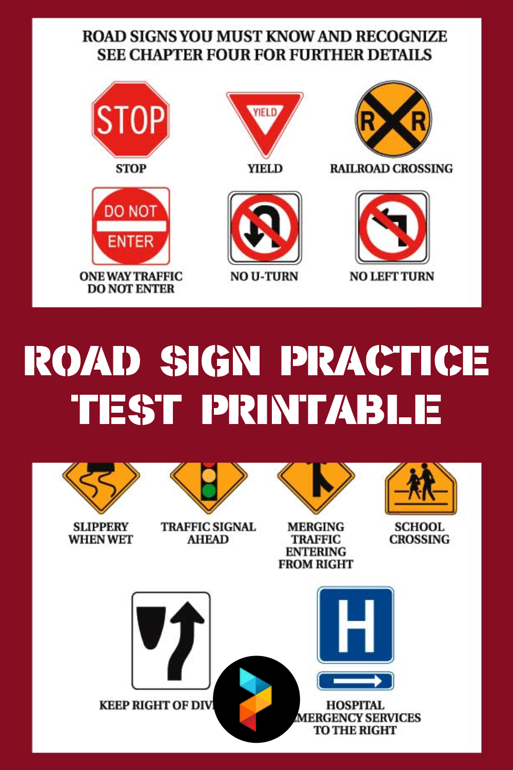 Road Sign Practice Test Printable