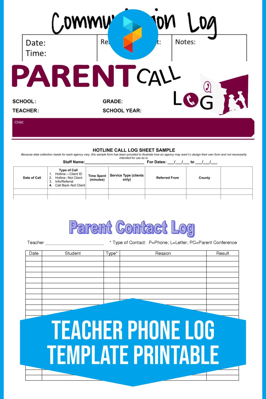 Teacher Phone Log Template Printable