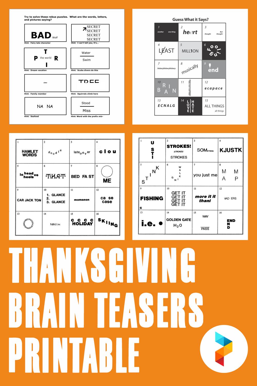 Thanksgiving Brain Teasers Printable
