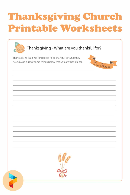 Thanksgiving Church Printable Worksheets