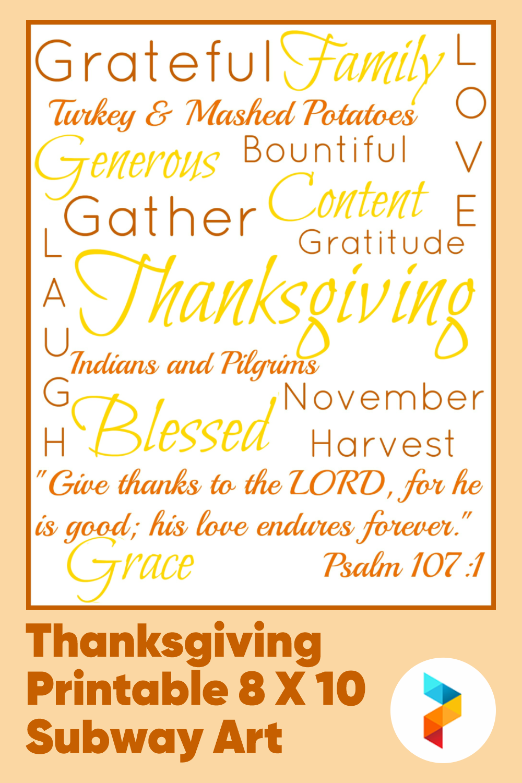 Thanksgiving Printable 8 X 10 Subway Art