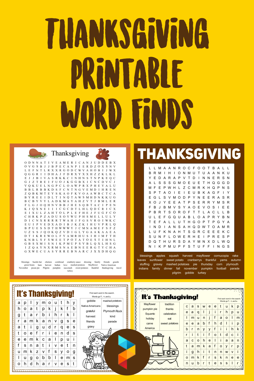 Thanksgiving Printable Word Finds