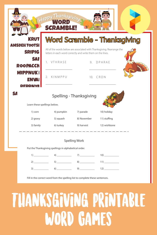 Thanksgiving Printable Word Games