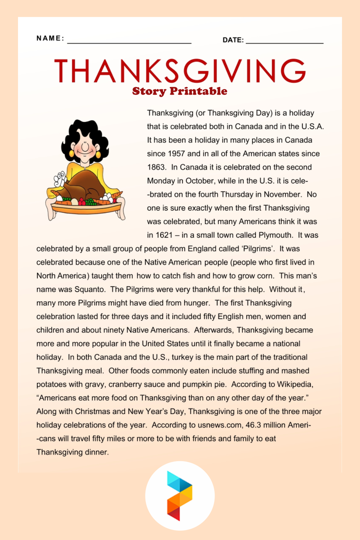Thanksgiving Story Printable
