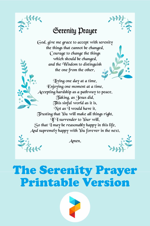 The Serenity Prayer Printable Version