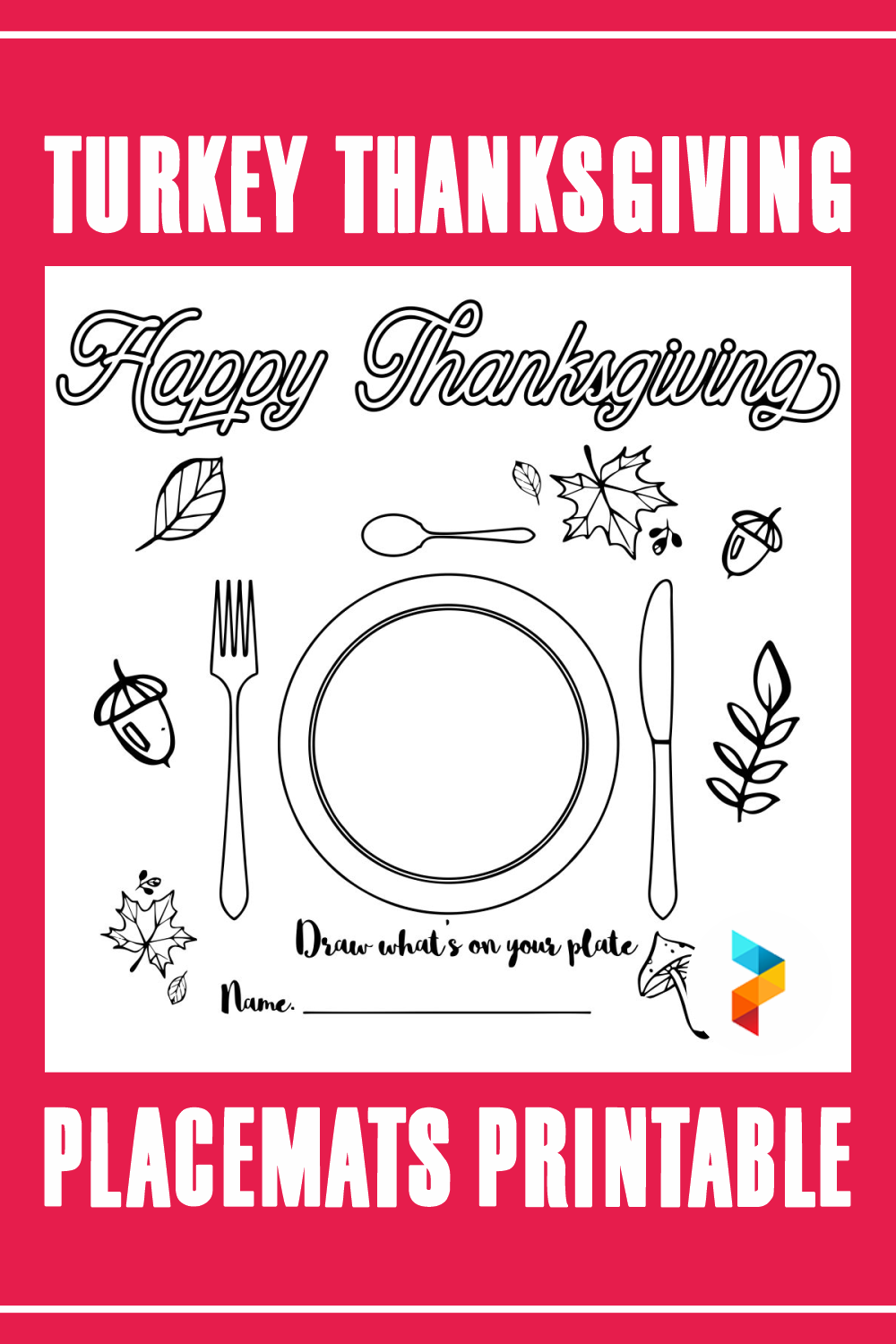 Turkey Thanksgiving Placemats Printable