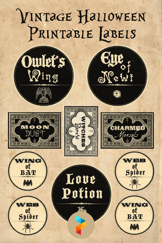 Vintage Halloween Printable Labels