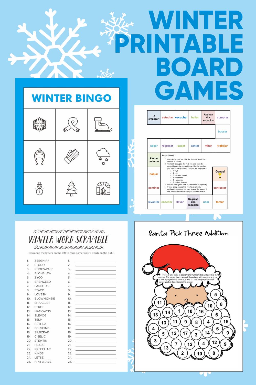 Winter Printable Board Games